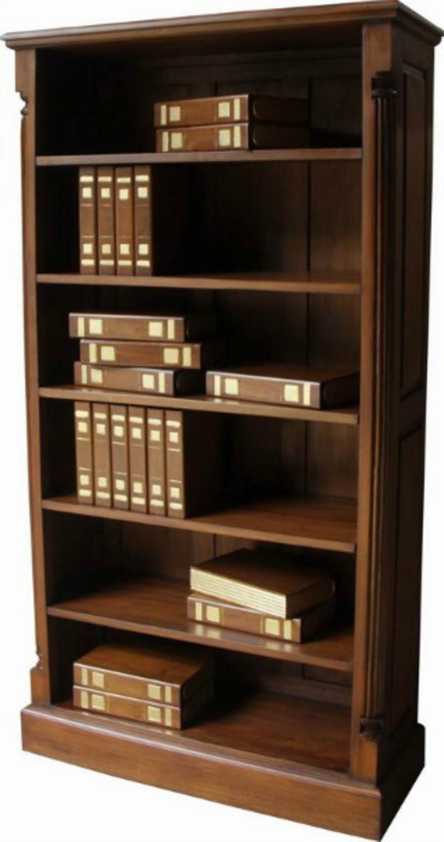 Säule aus massivem Mahagoni hoch breit Bücherregal