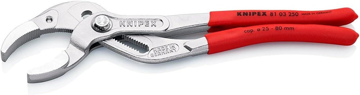 KNIPEX 81 01 250 Tenaza para tuber/ías y racores para sifones tubos de pl/ástico y conectores negro atramentado recubiertos de pl/ástico antideslizante 250 mm