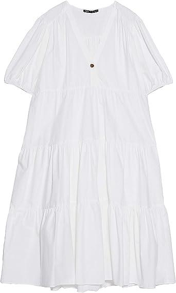 Zara 3666/070/250 vestido midi de popelina para mujer: Amazon ...