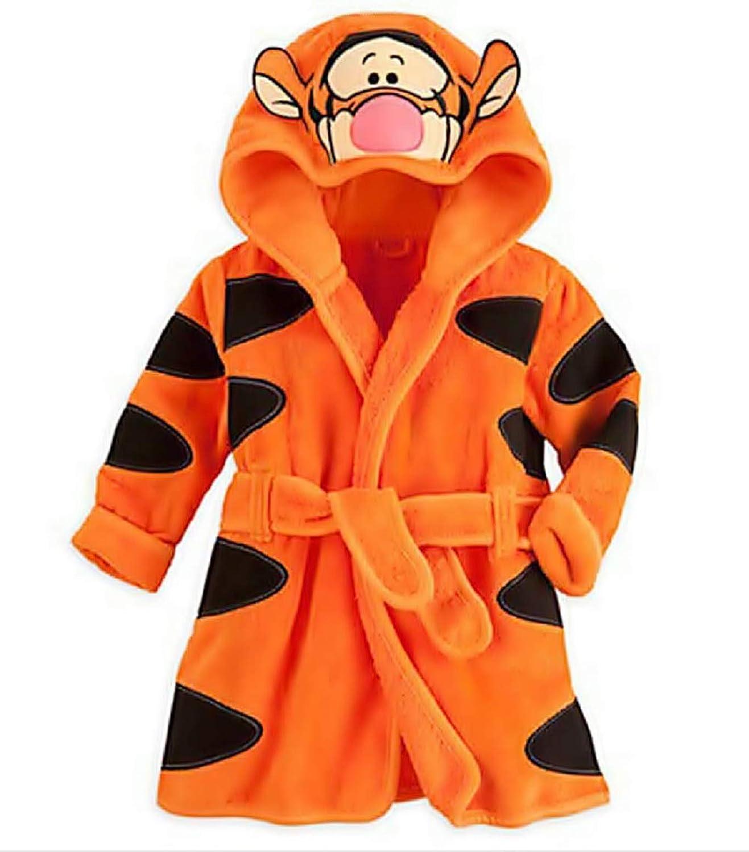 da Camera KIRALOVE Morbido Pile Notte Vestaglia Pigiama Personaggi con Cappuccio Tigre Accappatoio Arancione Tigro Bambino