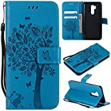 LG G7 ThinQ Case,LG G7 Wallet Case with Screen Protector,LG G7 ThinQ PU Leather Protective Case Emboss Cat and Tree Folio Magnetic with Card Holder Kickstand and Flip Case for LG G7 ThinQ Blue
