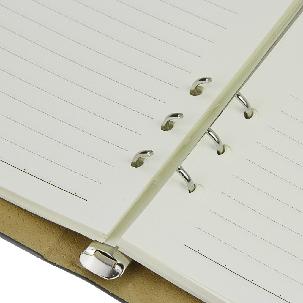 Notebook, A5 Faux Leather Journal, Business Office Notebook with Magnetic Clasp, Loose Leaf Wirebound Notebook with Spiral, Refillable Travel Notepad, College Ruled Paper, 192 Pages, 6.9x9.1 inches by Clobeau (Image #3)