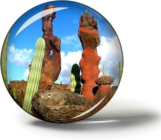 Hqiyaols Souvenir España Lanzarote Cactus Garden Imanes Nevera Refrigerador Imán Recuerdo Coleccionables Viaje Regalo Circulo Cristal 1.9 Inches: Amazon.es: Hogar
