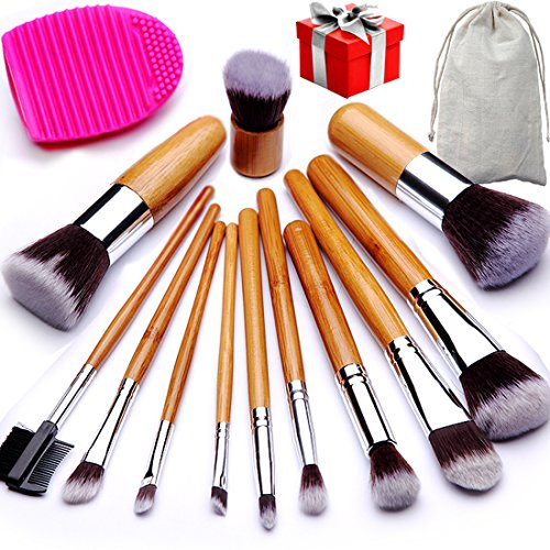 BEAKEY Makeup Brush Set Bamboo Handle Premium Synthetic Kabuki Foundation Blending Blush Eyeshadow Concealer Powder Brush with 1 Brush Egg & 1 Secret Gift