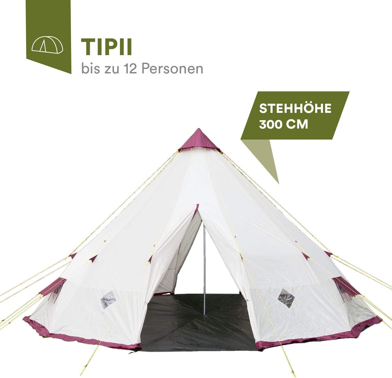 Skandika tipii Famiglie Tipi Indiano della Tenda 8/Fino a 12/Persone 3.000/mm di Colonna d Acqua 200//250//300/cm Altezza