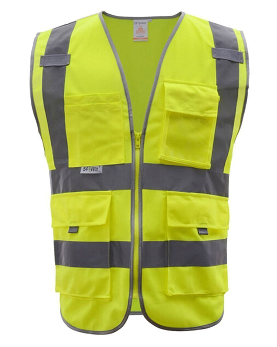 Fangfang High Visibility Safety Vest 4 Pockets Class 2 High Visibility Zipper Front Safety Vest With Reflective Strips, 2 Bonus Reflective Bands Included, Neon Yellow Meets ANSI/ISEA Standards (M)