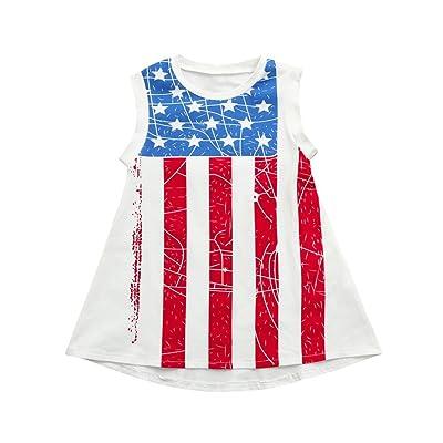 4417e9dffa1 TiTCool Little Girls Sleeveless Dress, Girls Independence Day National Flag  Print Dress Size 1-4T