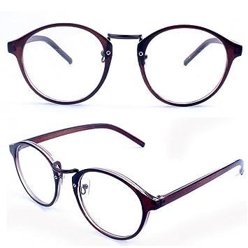 cb019477e1 ... Misright Vintage Clear Lens Eyeglasses Frame Retro Round Men Women  Unisex Nerd Glasses (Tawny)  Retro Eyeglasses Frames Clear Lens Round Metal  Optical ...