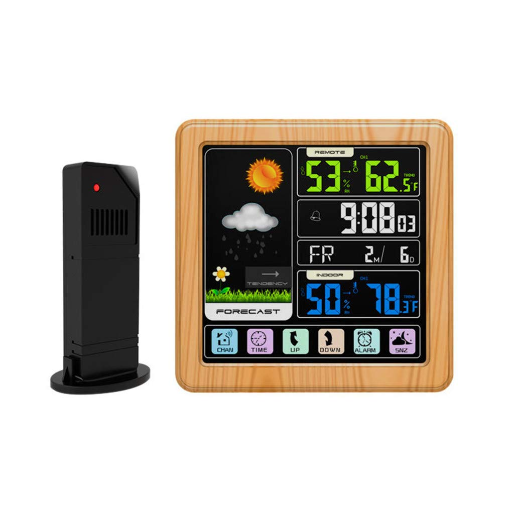 AIUSD Digital Display Thermometer Humidity Clock Colorful LCD Alarm Calendar Weather