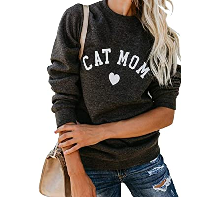 Heymiss Womens Tops Cat Dog Mom Shirts Long Sleeve Crewneck Graphic Tees at Women's Clothing store