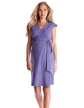 9b750e1112 Amazon.com   Seraphine Tanya Blue Purple Printed Maternity Wrap Dress - US  10   Baby