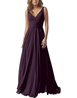 4ef6e873f5 Yilis Double V Neck Elegant Long Bridesmaid Dress Chiffon Wedding Evening  Dress