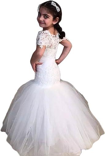 Amazon.com: hengyud sirena vestidos de niña de las flores ...