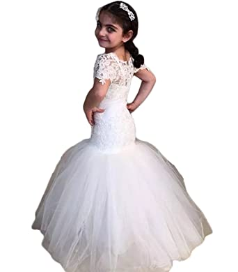 hengyud Mermaid Flower Girls Dresses for Weddings Vintage Lace Short Sleeves Communion Gowns