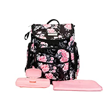Amazon.com   Laura Ashley 4 in 1 Floral Zip Around Backpack Diaper Bag Black    Baby 63d80bed0ff65