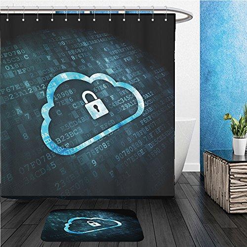 Beshowereb Bath Suit: ShowerCurtian & Doormat cloud computing or network security concept pixelated cloud with padlock icon on digital - Pixelated Tie