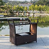 outdoor bar cart Bonnlo Outdoor Wicker Bar Cart with Wheels and Ice Bucket, Rolling Patio Wine Cart Rattan Bar Serving Cart with Glass Top and Wine Glass Holder for Pool, Party, Backyard, Porch
