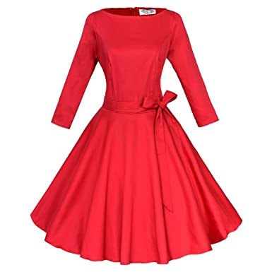 37a6f02363 Shengdilu Women s Vintage 50s Bodycon Shirtwaist Flared Party Swing Skaters  Dress S Red