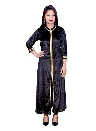 d8d24fb54a Shruti & Mahi Women's Blue Velvet Long Straight Casual Wear Kurti/Traditional/Ethenic  wear
