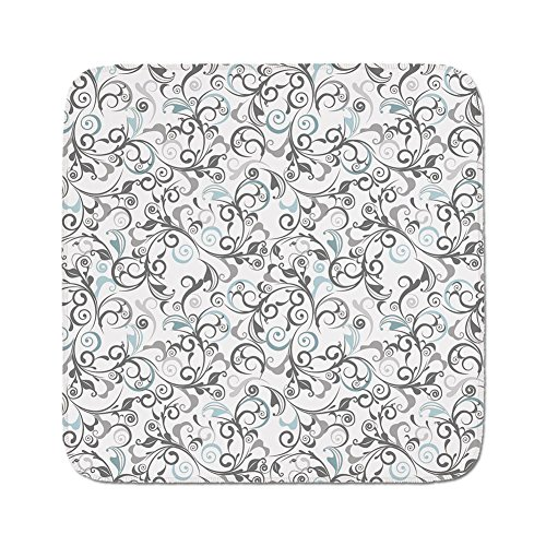 Cozy Seat Protector Pads Cushion Area Rug,Floral,Damask Antique Baroque Curls Classic Old Fashioned Artistic Royal Revival Decorative,Grey Pale Blue White,Easy to Use on Any (Grey Revival Toilet Seat)