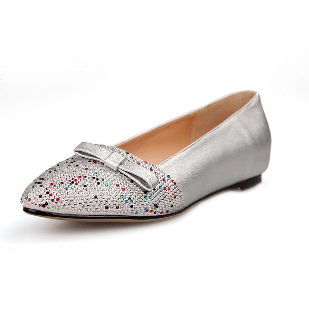 VogueZone009 Womens Closed Pointed Toe Micro Fiber PU Solid Flats with Bowknot and Glass Diamond, Silver, 7.5 B(M) US