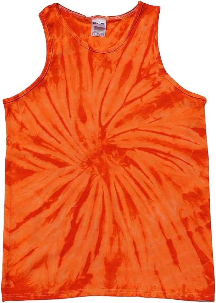 Tie Dye Tank Tops Orange Adult Small - 3X Cotton