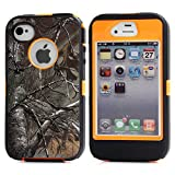 MOONCASE iPhone 4S Case, [Realtree Camo Series] 3 Layers Heavy Duty Defender Hybrid Soft TPU +PC Bumper Triple Shockproof Drop Resistance Protective Case Cover for Apple iPhone 4 4SS -Orange Withered