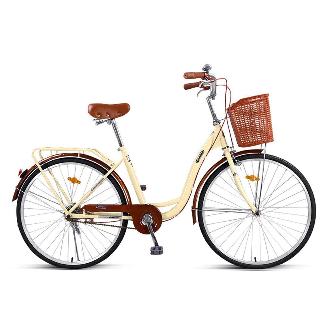 City Bike 26 Zoll Einzeln Geschwindigkeit Fahrrad Leichtgewicht Für Erwachsene Mountainbike Beige