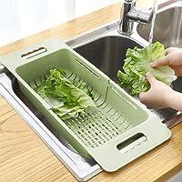 MineSign Colador plegable para frutas y verduras, cesta de drenaje ajustable para fregadero de cocina (verde)