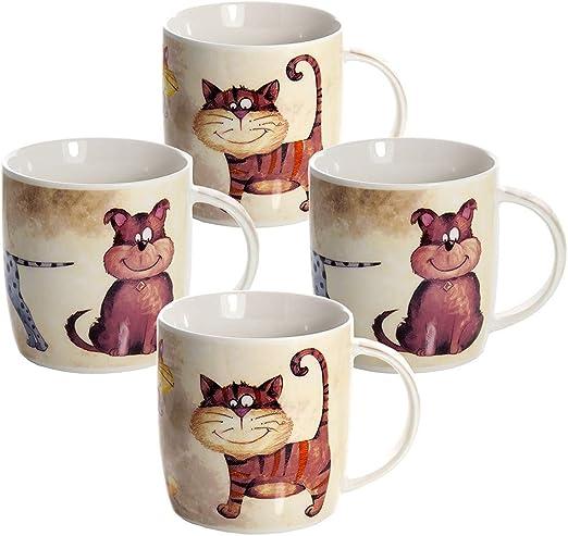 Juego Tazas de Café, Tazas Desayuno Originales de Té Café, Porcelana con Diseño de Gatos y Perros, 4 Piezas - Regalos para Amantes de los Animales Mujeres y Hombres: Amazon.es: Hogar