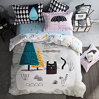TheFit Paisley Textile Bedding for Teenager Girls and Boy U714 Multi Color and Black Cat Duvet Cover Set 100% Cotton, Twin Queen King Set, 3-4 Pieces