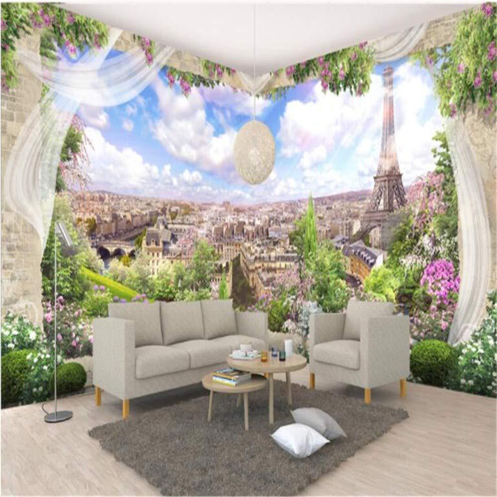 lanyu Fondo De Pantalla Mural 3D Windows Paris Paisaje TV Fondo Decorativo Pintura Foto Pegatinas De Pared Fondo De Pantalla