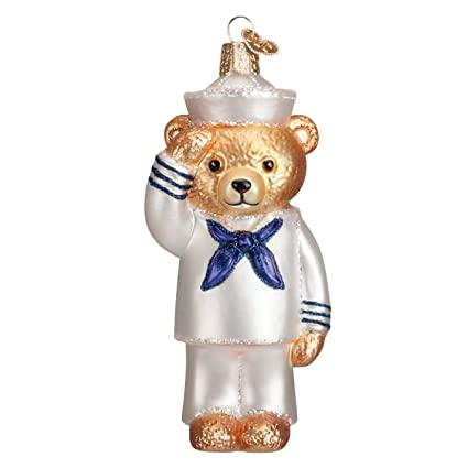 Old World Christmas Ornaments Navy Bear Glass Blown Ornaments For Christmas Tree
