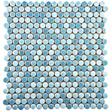 SomerTile WSHGPROC Ursa Penny Round Porcelain Wall, 11.25'' x 11.75'', Oceano Blue Tile, 10 Piece