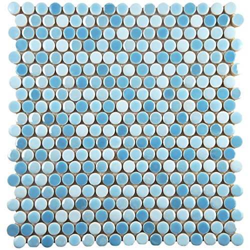 Tile Oceano - SomerTile WSHGPROC Ursa Penny Round Porcelain Wall, 11.25
