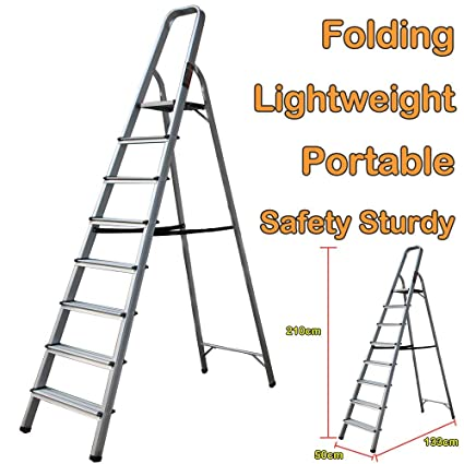 Step Ladder Aluminium Lightweight 7 Tread Tall Stepladder Heavy Duty 150kg//330lbs Capacity Non Slip Safety Ladder EN131 Standard for Home Office