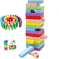 Toyshine Wooden 51 Colored Wooden Building Block Dominoes, Party Game, Tumbling Tower Game