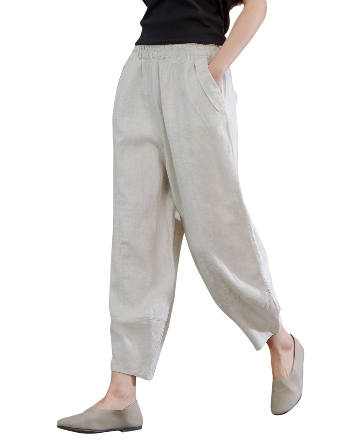 IXIMO Women's Linen Pants Lantern Tapered Elastic Cropped Pants Trousers with Pockets Hemp L