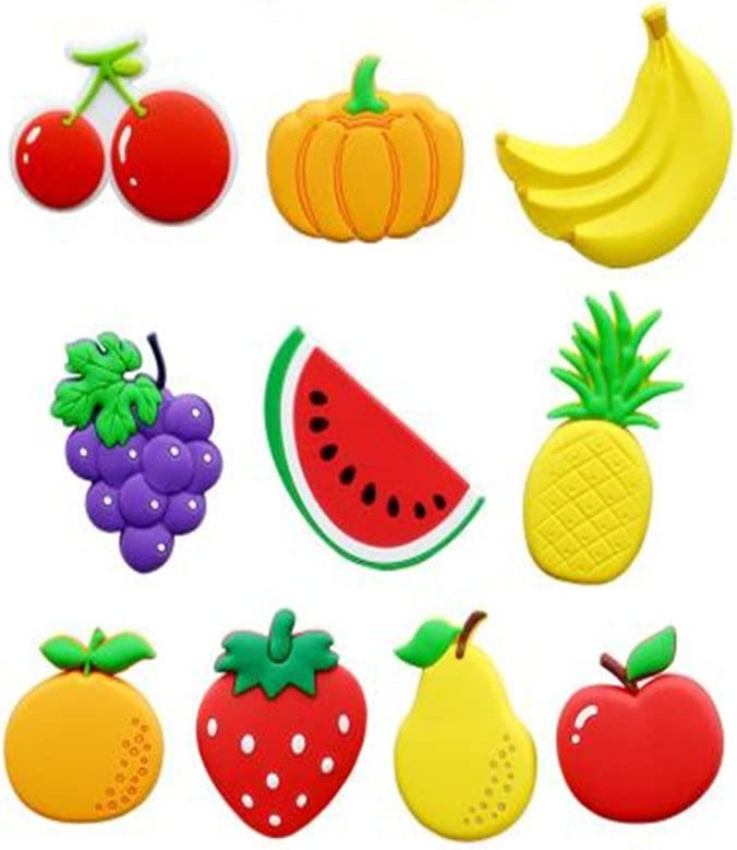Koolemon 10pcs/lot Fruit Fridge Magnets Whiteboard Sticker Rubber Refrigerator Magnets for Home Kitchen Decoration Educational Tool Gift