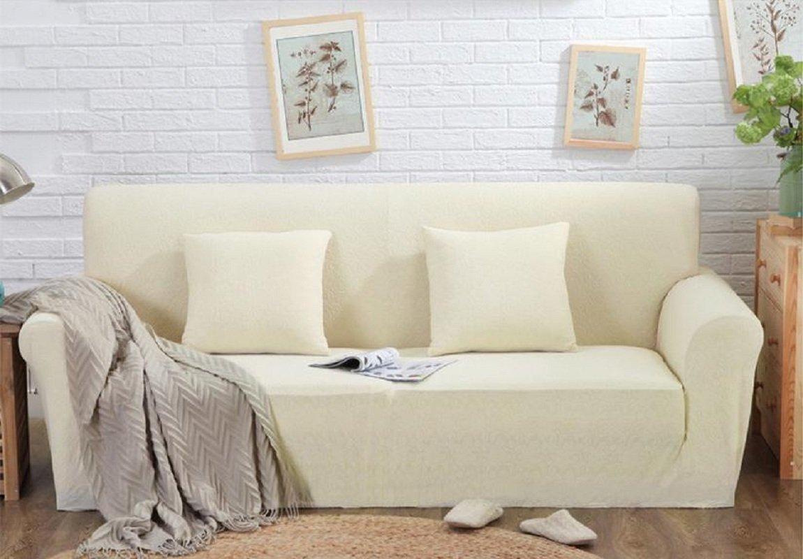 Beddingleer 2 Sitzer Sofaüberwurf Sofahusse Sofabezug Sesselbezug  Easy Fit Elastischer Stoff Universal (150x190 cm Reine Beige)