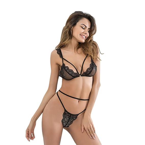 e783bc38a93a Conjunto de lencería sexy para mujer Conjunto halter Tanga de encaje  abierto Bralette tanga Conjunto de 2 piezas Babydoll Body (L, Blanco)