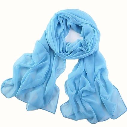 e7602a21a5b50 Amazon.com: Sothread Women Girls Chiffon Scarf Solid Color Soft Long Beach Scarves  Shawl Wrap Thin (Sky Blue).: Arts, Crafts & Sewing