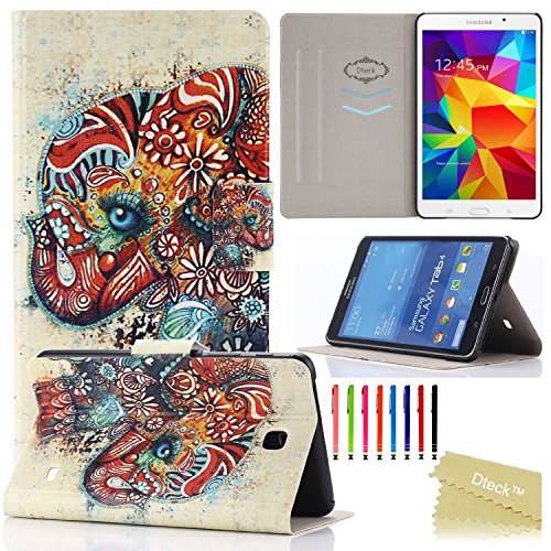 Galaxy Tab 4 7.0 Case, T230 Case, Dteck(TM) Fashion Vintage Design Flip PU Leather Cute Case [Card Slots] Magnetic Closure Stand Case for Samsung Galaxy Tab 4 7.0 inch T230/T231/T235 (1 Cute Elephant)