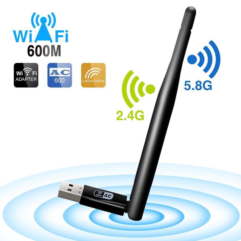 OJA AC USB 2.0 WiFi Adapter, AC600 Dual Band Wireless WiFi CCA Dongle with High Gain Antenna for Desktop Computer Windows 10