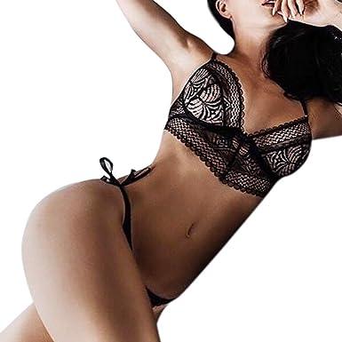 SANFASHION Women Lingerie Corset Lace Flowers Push Up Top Bra+Pants Underwear  Set 69562d8b8