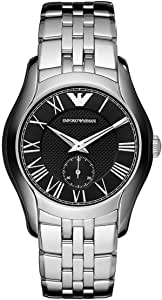 Emporio Armani Men'S Black Dial Leather Band Watch Ar0382, Quartz, Analog