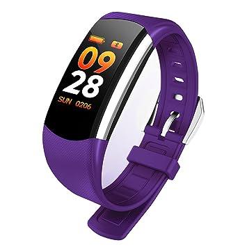 JINSHENG Smart Bracelet Watch Mujeres Hombres Fitness Sport Tracker Banda Frecuencia Cardíaca Tensiómetro de Reloj de Pulsera para Android iOS,Púrpura: ...