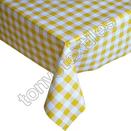 Tonyu0027s Textiles Gingham Check Yellow Plastic Tablecloth Wipe Clean Pvc Vinyl  Outdoor Kitchen Party (280