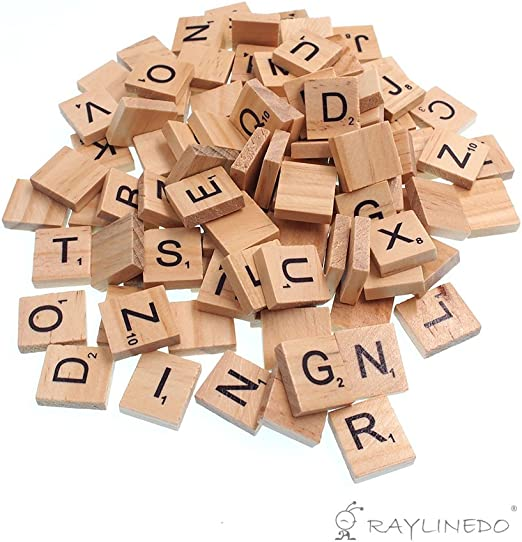 Raylinedo 100 x letras de madera para Scrabble Scrabbles número Crafts Inglés palabras mayúsculas Mixed: Amazon.es: Juguetes y juegos