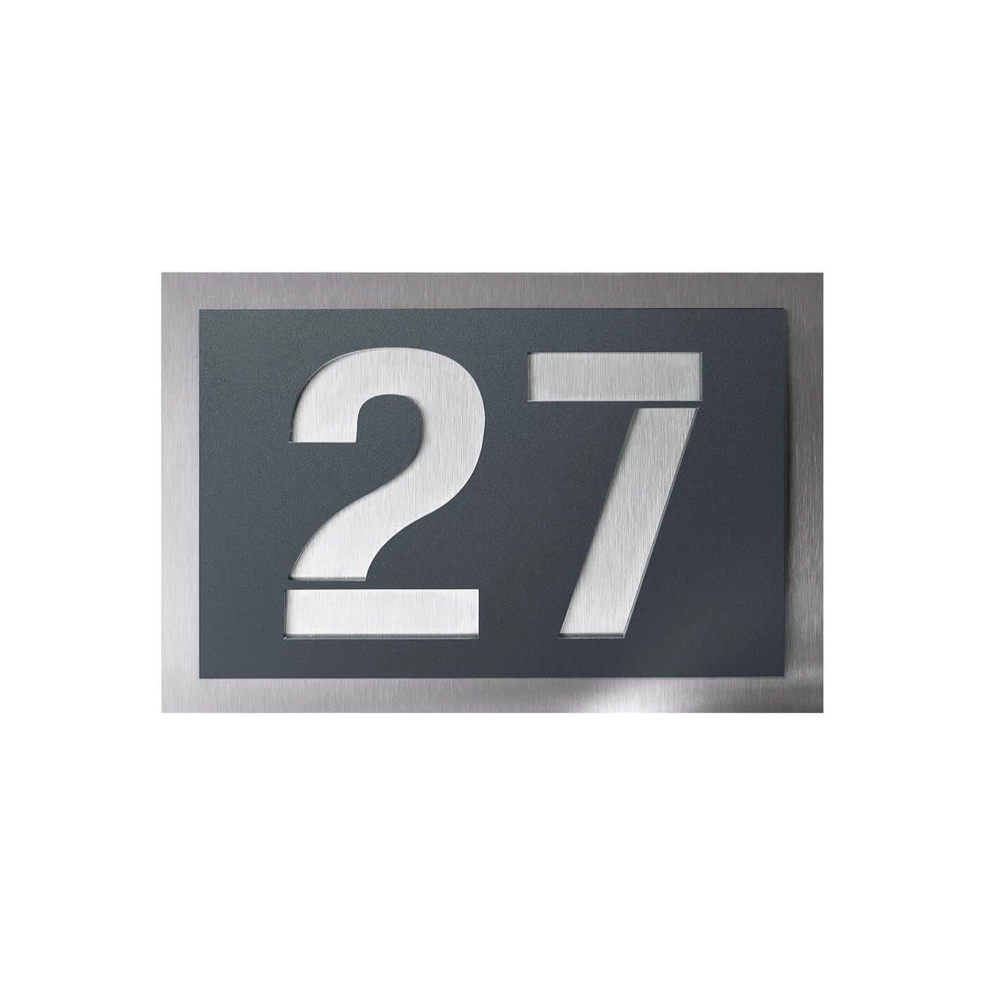 Hausnummer-Schild inkl 215x150 mm verschiedene Gr/ö/ßen in schwarz aus Edelstahl und Acrylglas Beschriftung